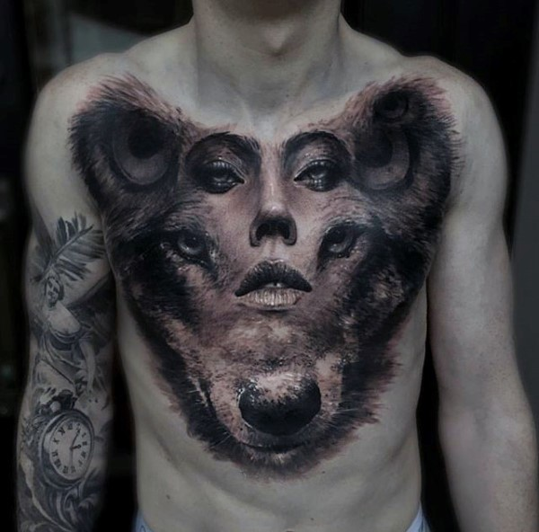 Realism style colored chest tattoo of bears head with woman face