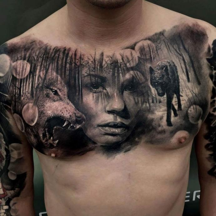Realism Style Colored Chest Tattoo Of Woman In Forest With