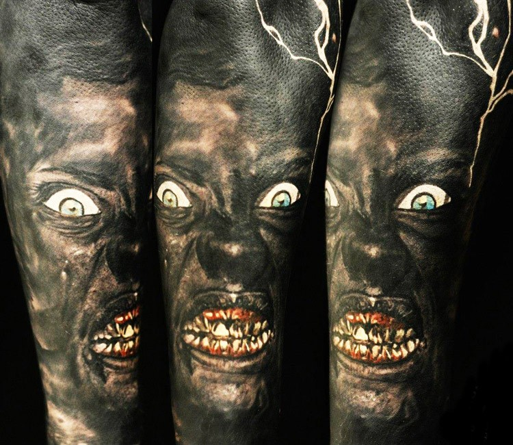 Realism style colored creepy looking tattoo of monster zombie