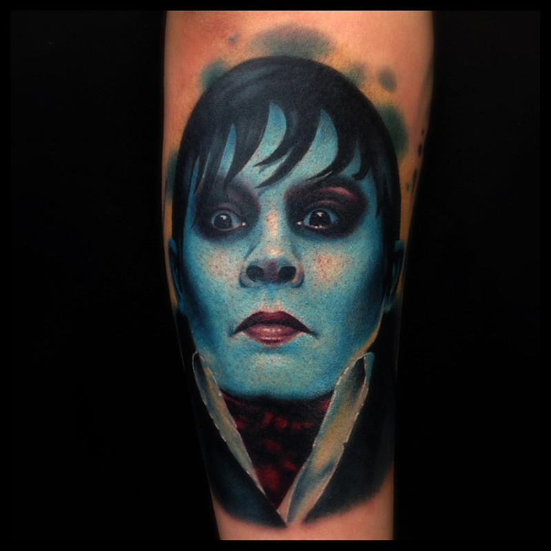 Realism style colored creepy man face tattoo