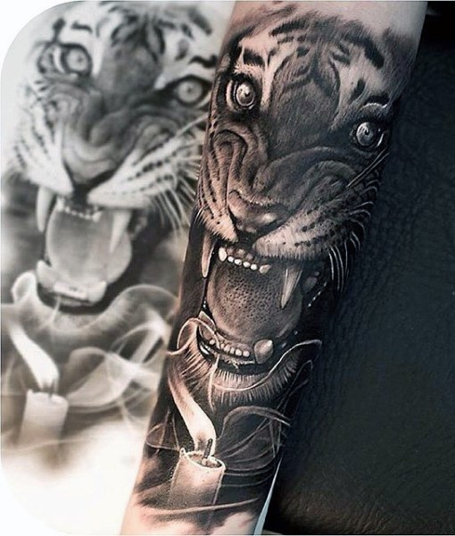 5456039bf Realism style colored forearm tattoo of roaring tiger - Tattooimages.biz