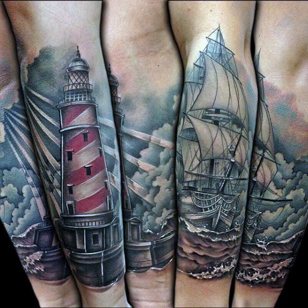 Realism style colored forearm tattoo of lighthouse with sailing ship and waves