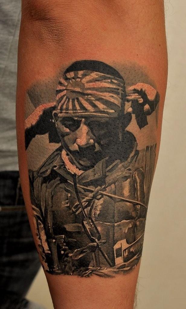 Realism style colored forearm tattoo of Japan kamikaze warrior