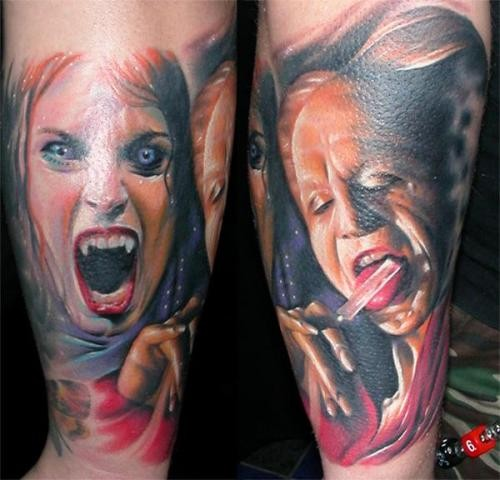 Realism style colored forearm tattoo of vampire woman and man