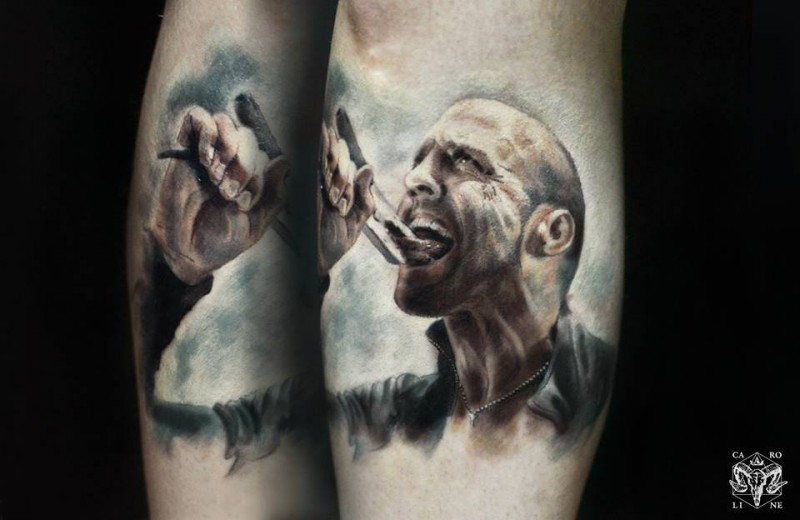 Realism style colored forearm tattoo of movie Jason Statham