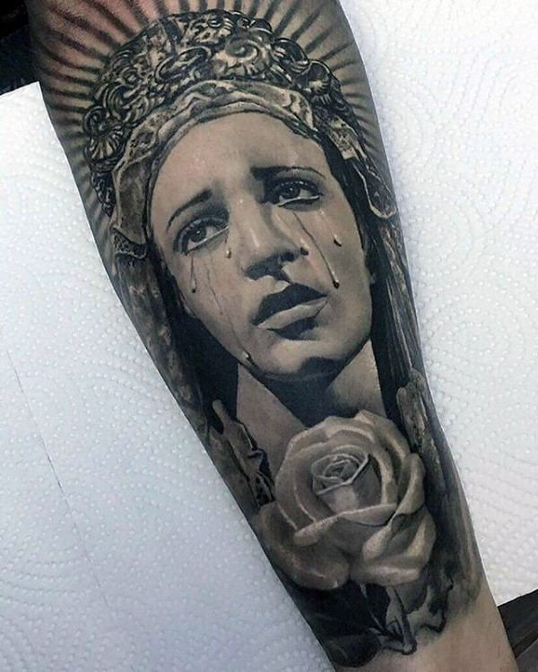 Realism style colored forearm tattoo of crying woman with rose