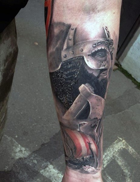 Realism style colored forearm tattoo of medieval warrior