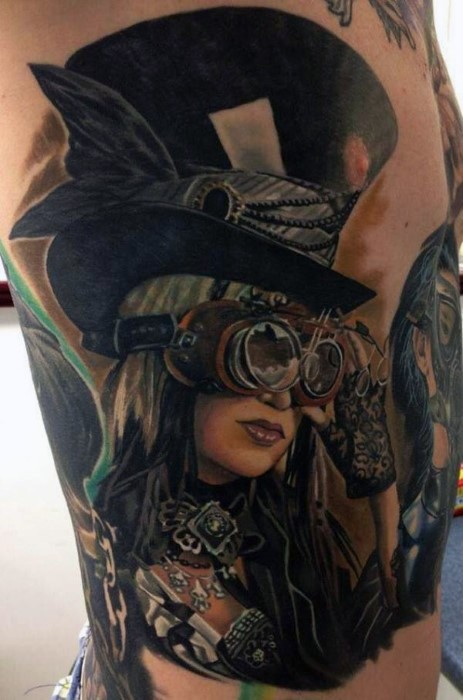 Realism style colored large mystical woman portrait tattoo on side
