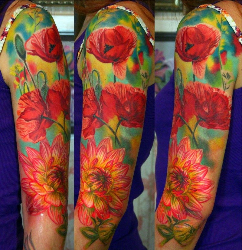 Realism style colored large sleeve tattoo of various flowers