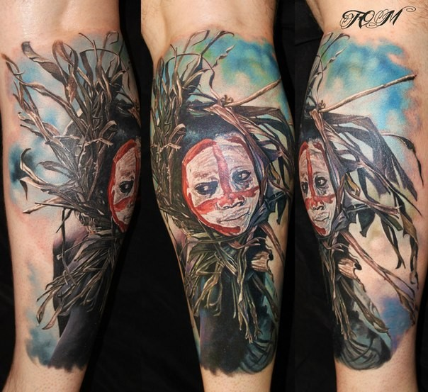 Realism style colored leg tattoo of ancient tribes woman