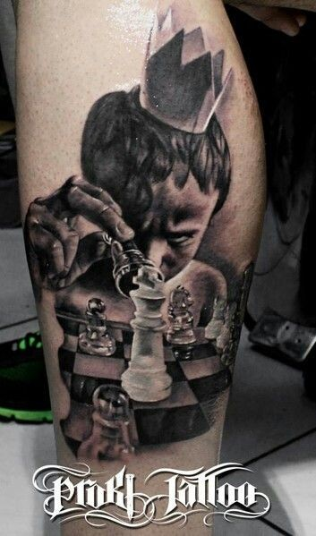 Realism style colored leg tattoo of boy with chess and crown