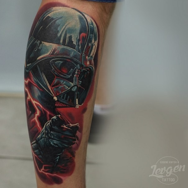 Realism style colored leg tattoo of Darth Vader and lightning