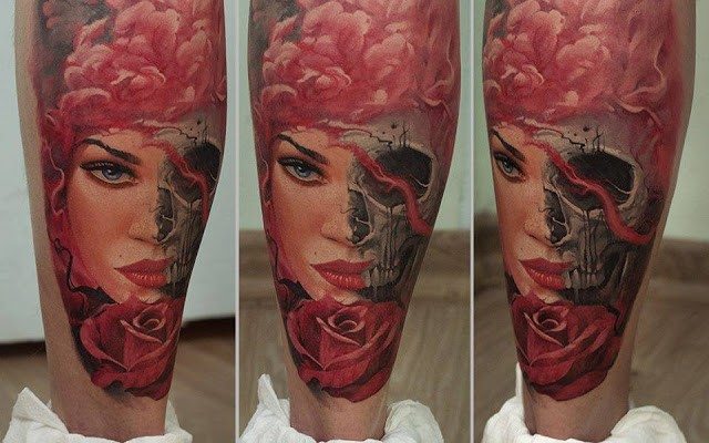 Realism style colored leg tattoo of half woman half skull with rose