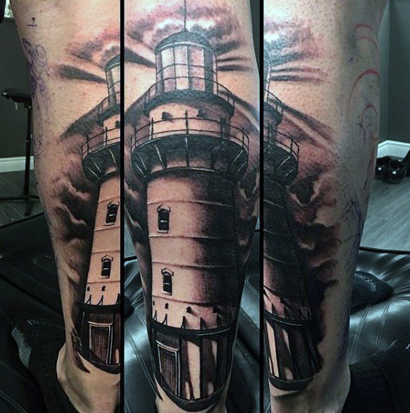 Realism style colored leg tattoo of large lighthouse