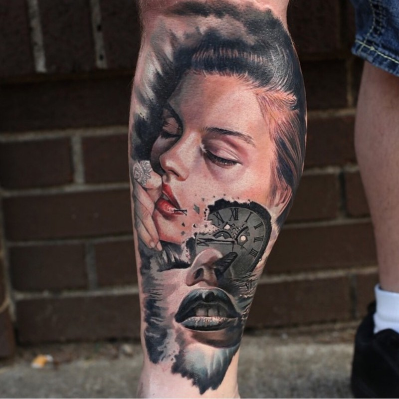Realism style colored leg tattoo of sexy woman with clock