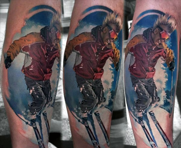 Realism style colored leg tattoo of skiing man