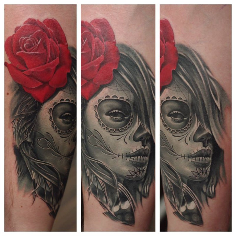Realism style colored Mexican woman portrait with red rose