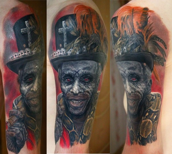 Realism style colored mystical demonic man face tattoo on shoulder