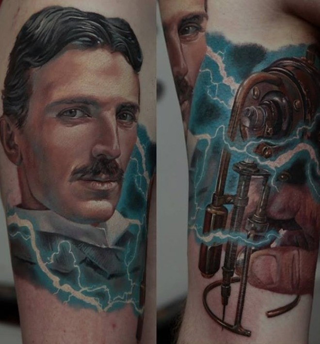 Realism style colored portrait tattoo of Nikola Tesla with lightning