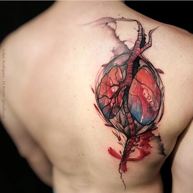 Realism style colored scapular tattoo of human lungs