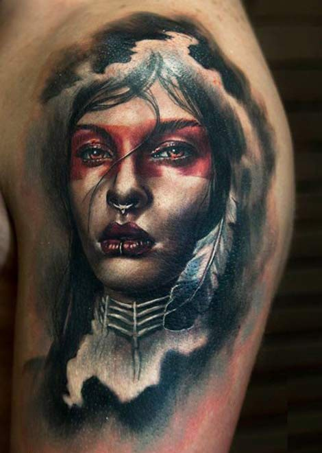 Realism style colored shoulder tattoo fo Indian woman