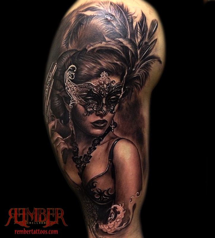 Realism Style Colored Shoulder Tattoo Of Woman With Mask