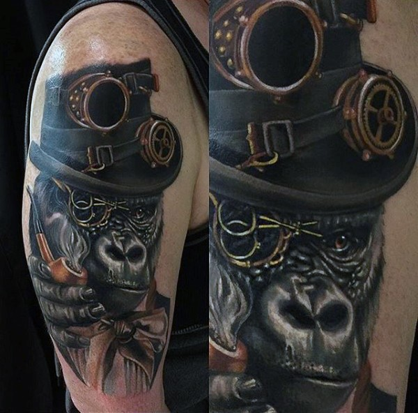 108 Best Badass Tattoos For Men: Realism Style Colored Shoulder Tattoo Of Gorilla With