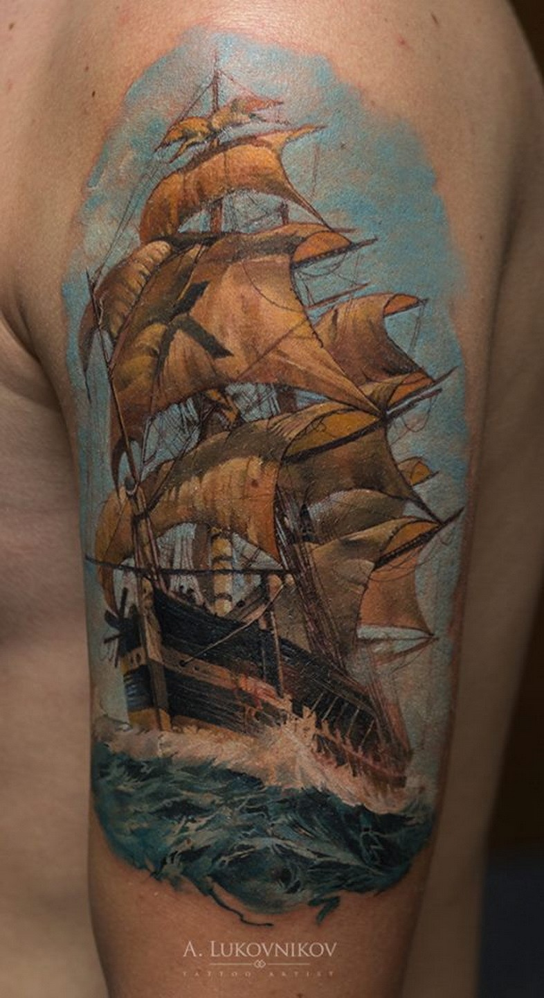 Realism style colored shoulder tattoo of very detailed sailing ship