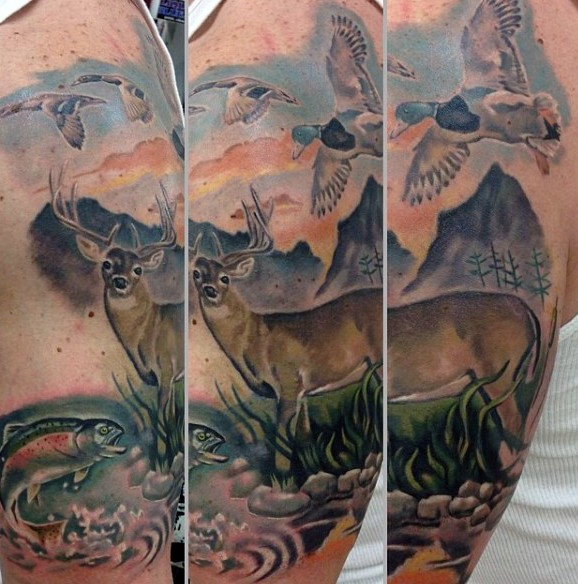Realism style colored shoulder tattoo of deer with ducks and fish