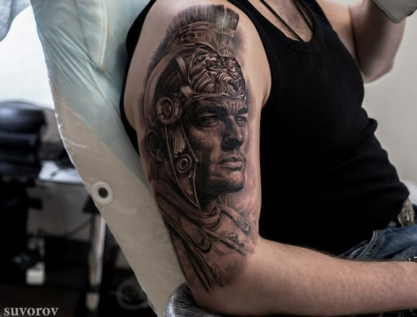 Realism style colored shoulder tattoo of ancient warrior in helmet