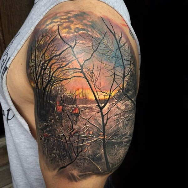 Realism style colored shoulder tattoo of people in forest