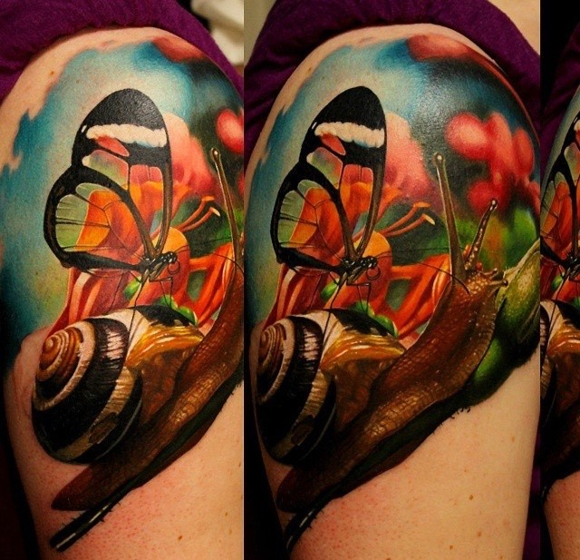 Realism style colored shoulder tattoo of snail with butterfly
