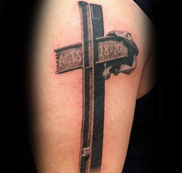 Realism style colored shoulder tattoo of iron cross
