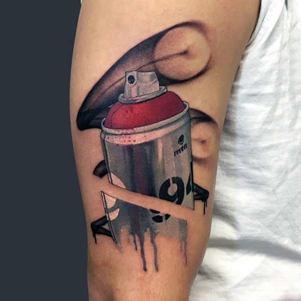 Realism style colored shoulder tattoo of big paint spray