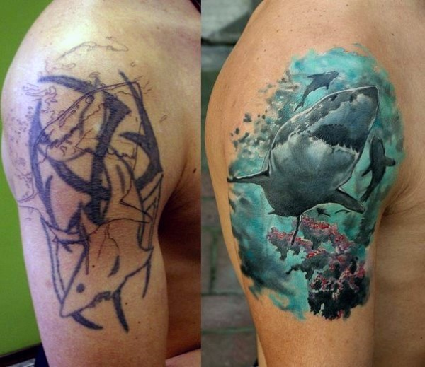 Realism style colored shoulder tattoo of swimming underwater shark