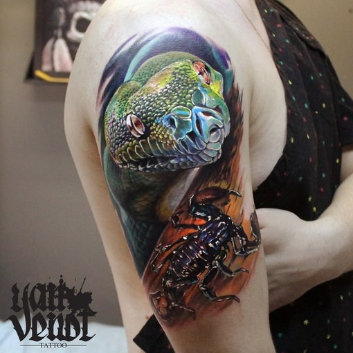 Realism style colored shoulder tattoo of natural looking snake with scorpion