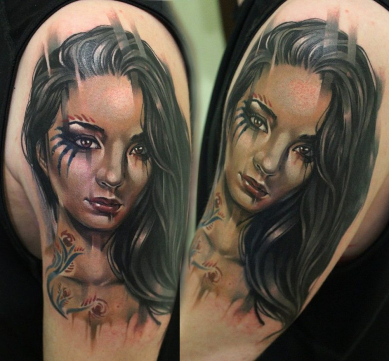 Realism style colored shoulder tattoo of beautiful woman