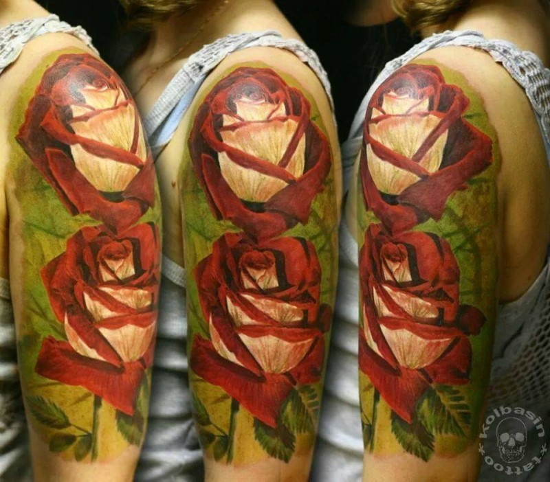 Realism style colored shoulder tattoo of big beautiful roses