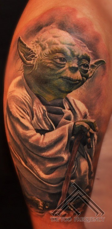 Realism style colored shoulder tattoo of Yoda from Star Wars
