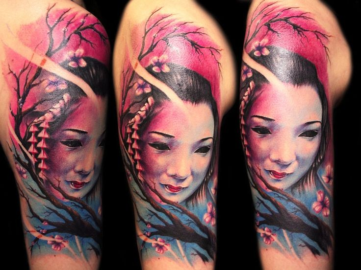 Realism style colored shoulder tattoo of geisha with blooming tree