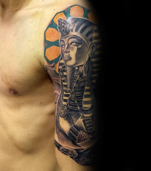 Realism style colored shoulder tattoo of Egypt statue