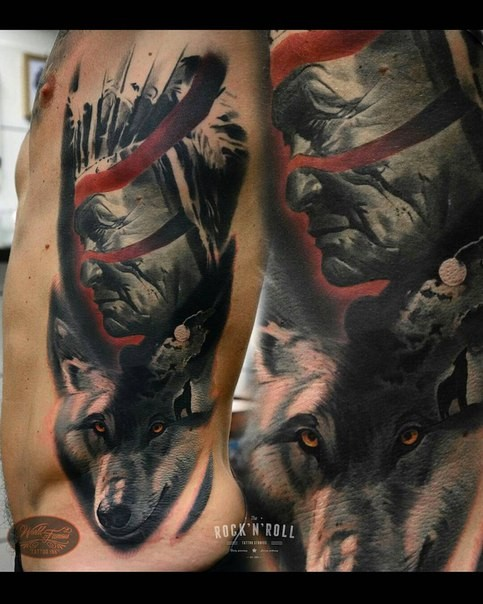 Realism style colored side tattoo of old Indian with wolf