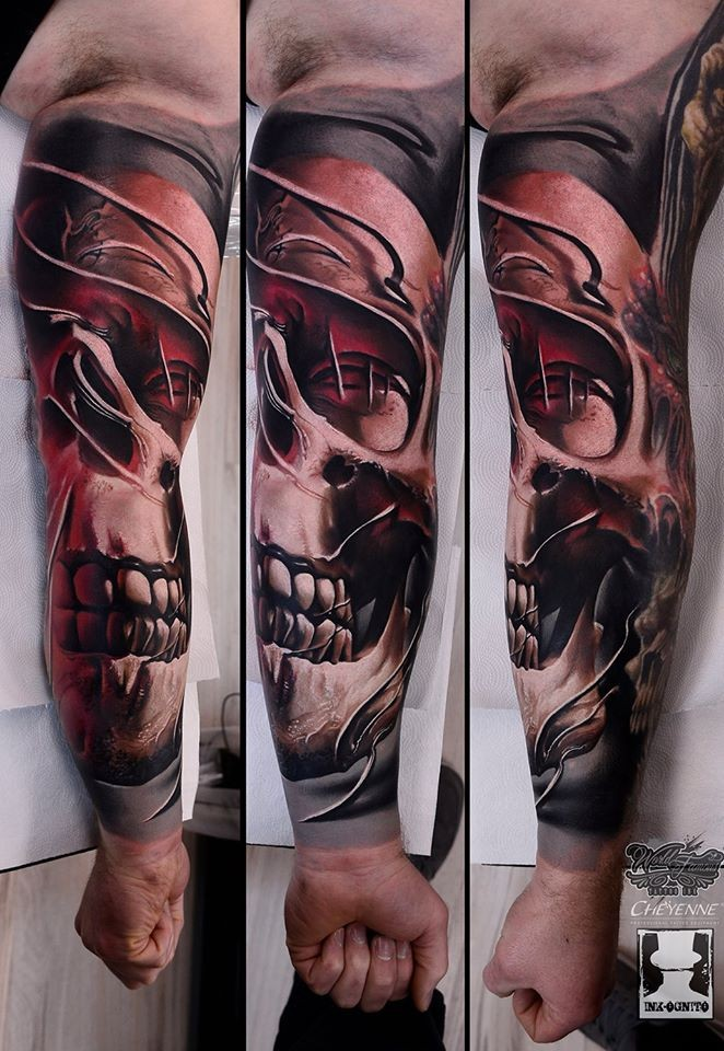 Realism style colored sleeve tattoo fo steamy human skull