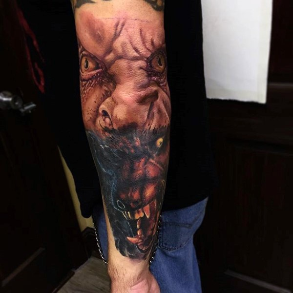 Realism style colored sleeve tattoo of werewolf transformation