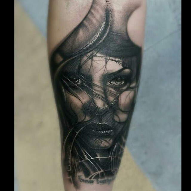 Realism style colored tattoo of mystical woman face