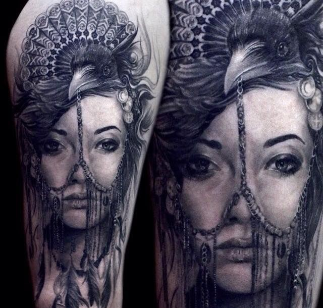 Realism style colored tattoo of pierced woman with crow