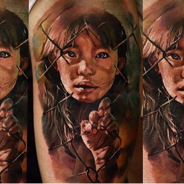 Realism style colored tattoo of sad little girl with fence