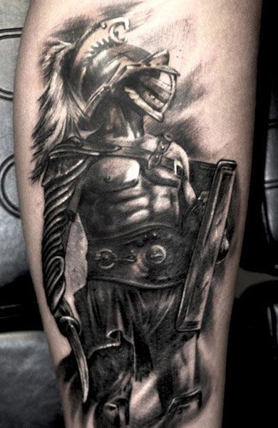 Realism style colored tattoo of very detailed gladiator warrior