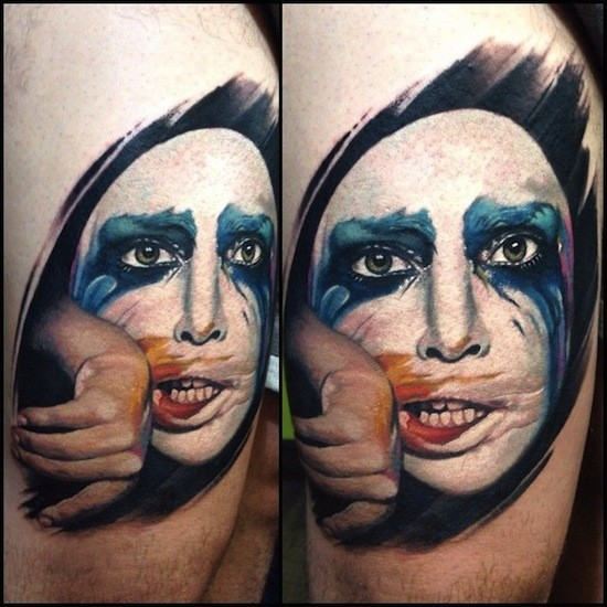 Realism style colored tattoo of woman face with makeup