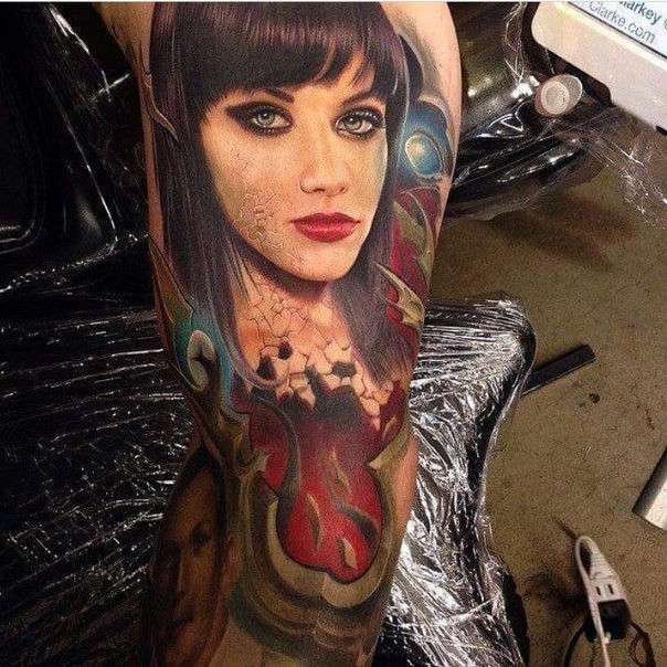 Realism style colored tattoo of woman face